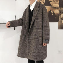 Зимнее толстое шерстяное пальто в клетку мужское модное повседневное