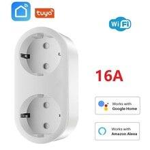 Ab Wifi akıllı soket 16A 2 In 1 akıllı fiş Tuya kablosuz çıkış güç monitörü enerji tasarrufu Google ile çalışır ev Amazon Alexa