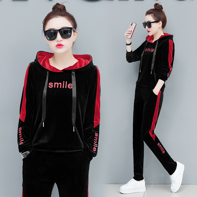 Velvet Set Top Pant suits 2 Piece Tracksuits for Women Outfit Sportsuit Co-ord Hoodies 2019 Winter Autumn Plus Size Clothing 40