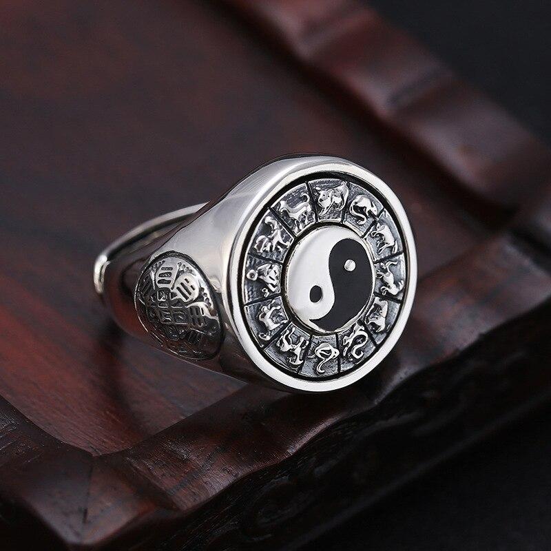 2019 Tai Chi potins zodiaque anneau réglable 100% pur 925 argent Sterling pour hommes bague de fiançailles bijoux fins cadeaux d'anniversaire