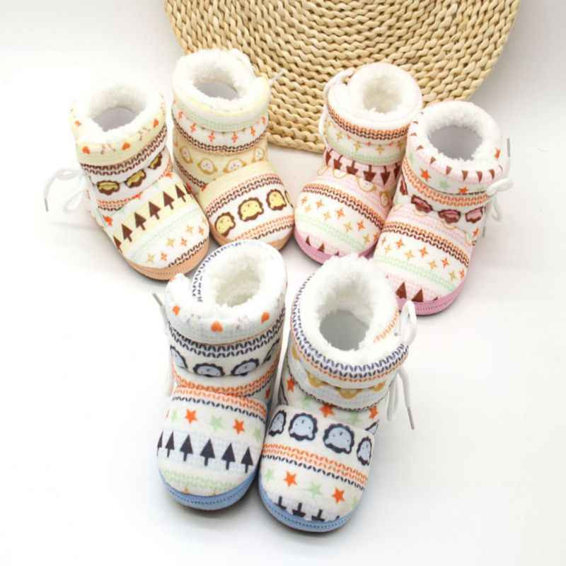 Infant Toddler Newborn Kids Baby Boys Girls Shoes Soft Cotton Padded Snowshoes Winter Warm Boots