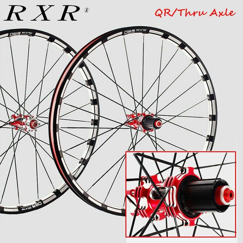RXR 26//27.5//29in MTB Mountain Bike Wheelset Disc Brake QR//Thru Axle Wheels Bike