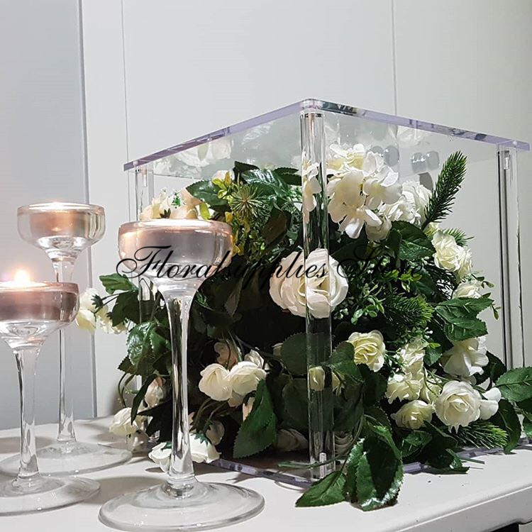 Acrylic Flower Stand Crystal Clear Holder Wedding Decoration Centerpieces Marriage Event Party Column Cake Stand Christmas Decor