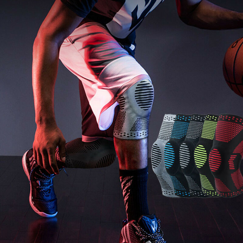 High Quality Women And Men Sports High Compression Silicone Knee Support Padded Sleeve Nylon Silicon Brace
