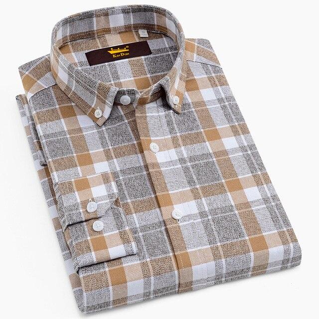 Erkek % 100% pamuk fırçalanmış flanel ekose damalı gömlek Casual uzun kollu standart fit düğme aşağı yakalı şemsiye Tops gömlek