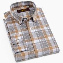 Männer der 100% Baumwolle Gebürstet Flanell Plaid Checkered Shirts Casual Langarm Standard fit Taste Unten Kragen Gingham Tops hemd