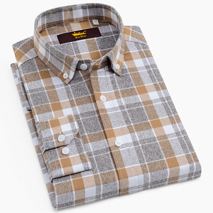 Image 1 - Mens 100% Cotton Brushed Flannel Plaid Checkered Shirts Casual Long Sleeve Standard fit Button Down Collared Gingham Tops Shirt