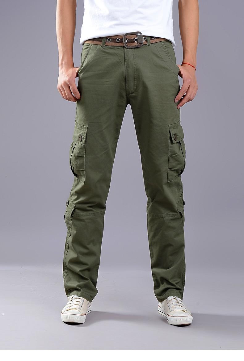 KSTUN Cargo Pants Men Combat Army Military Pants 100% Cotton 4 Colors Multi-Pockets Flexible Man Casual Trousers Overalls Plus Size 38 12