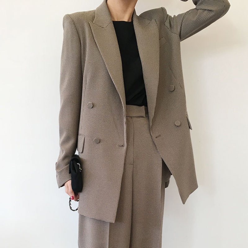 Vintage Long Blazer Mujer Turn Down Collar Double Breasted High Street Casual Plaid Autumn Women Blazers And Jackets 2019