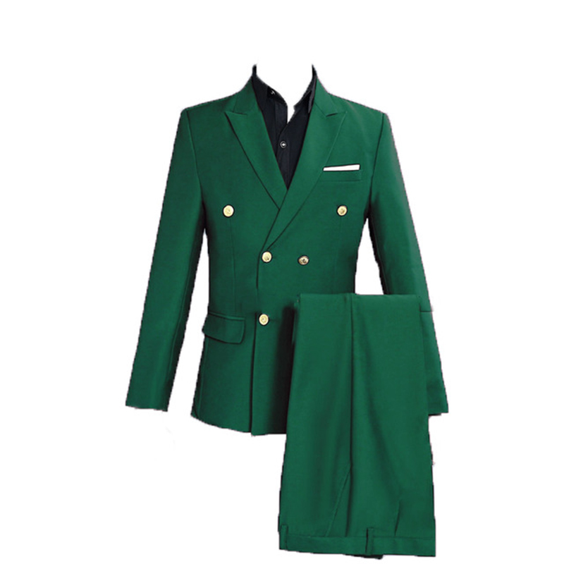 Green Groom Tuxedo Wedding Singer Suits Double Breasted Slim Fit Suit Prom Dresses Fashion Casual Suit Men