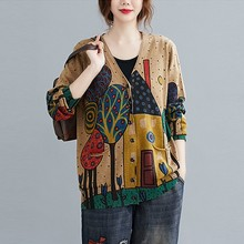Women Autumn Cardigan Sweaters New 2020 Arts Style Vintage Print V-neck Loose Comfortable Female Knitted Cardigan Coats S1537