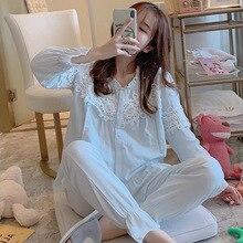 Пижамы для кормящих детей г. Новая летняя хлопковая мягкая одежда для сна для беременных двойная марлевая Одежда для беременных ночная рубашка для грудного вскармливания, комплект
