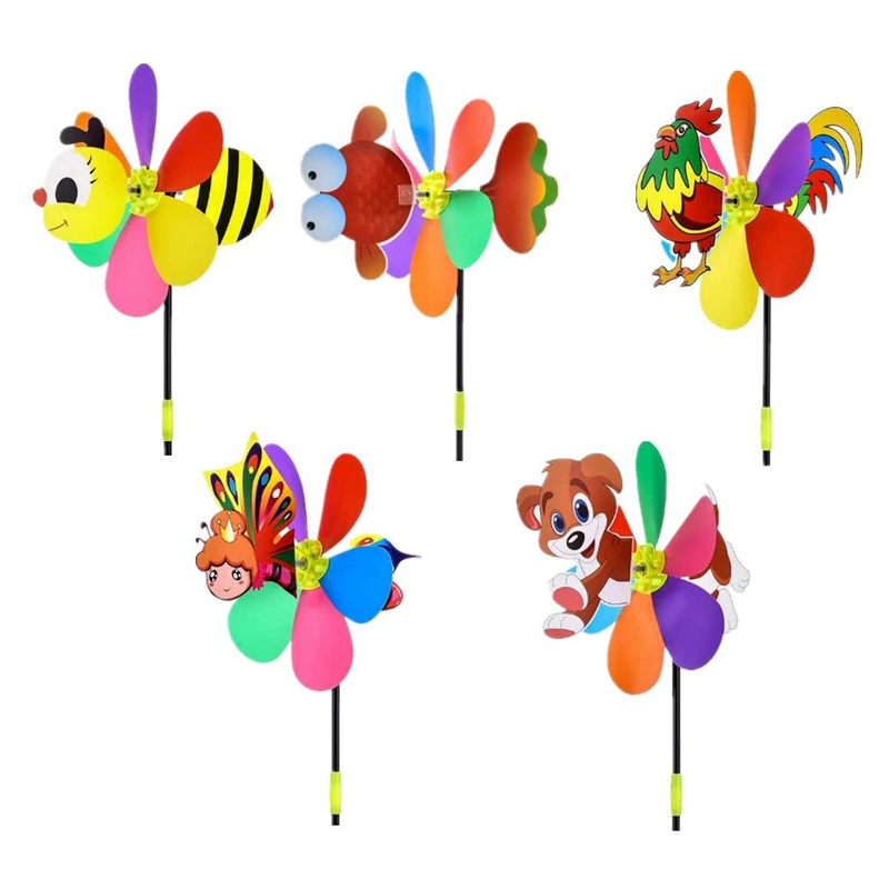 5 Pcs Windmills Colorful Wind Spinner 3D Animal Pinwheel Garden Ornament for Outdoor Yard Lawn Patio Decor and Party