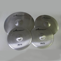 Arborea low volume mute quite cymbals set: 14hihat+16crash+18crash+20ride Silver and Golded color