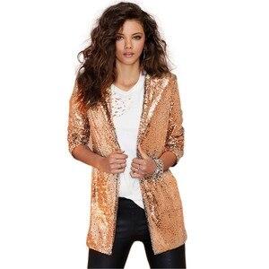 Image 3 - Outono feminino lantejoulas blazers jaqueta ouro bling prata preto manga longa elegante terno casaco noite clube glitter brilhante punk outwear