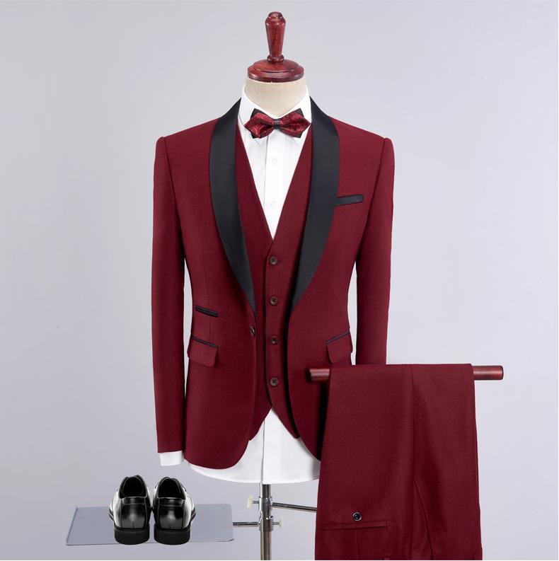 Jacket+Vest+Pants)2019 New Custom Slim Fit Causal Cotton And Wool Suits Men's Business Wedding Suit Men Blazer Costume Homme