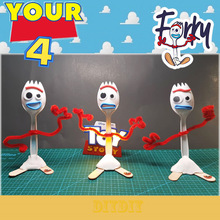 IN STOCK  Action figure Toy story 4 14m Diy Forky Buzz Lightyear Cartoon Woody Jessie Dog Doll toys for children Xmas Gift