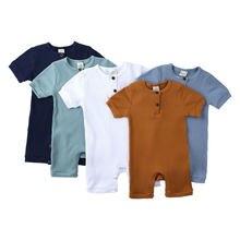 Moda bebek giysileri kız Romper düz renk bebek erkek giysileri pamuk kısa kollu o-boyun yenidoğan erkek tulum 0-24 ay