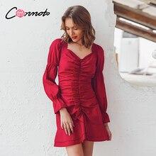 Conmoto Vintage כבוי כתף אדום סקסי קצר מפלגה שמלת נקבה 2019 סתיו החורף Bodycon Ruched שמלה לפרוע ארוך שרוול שמלה