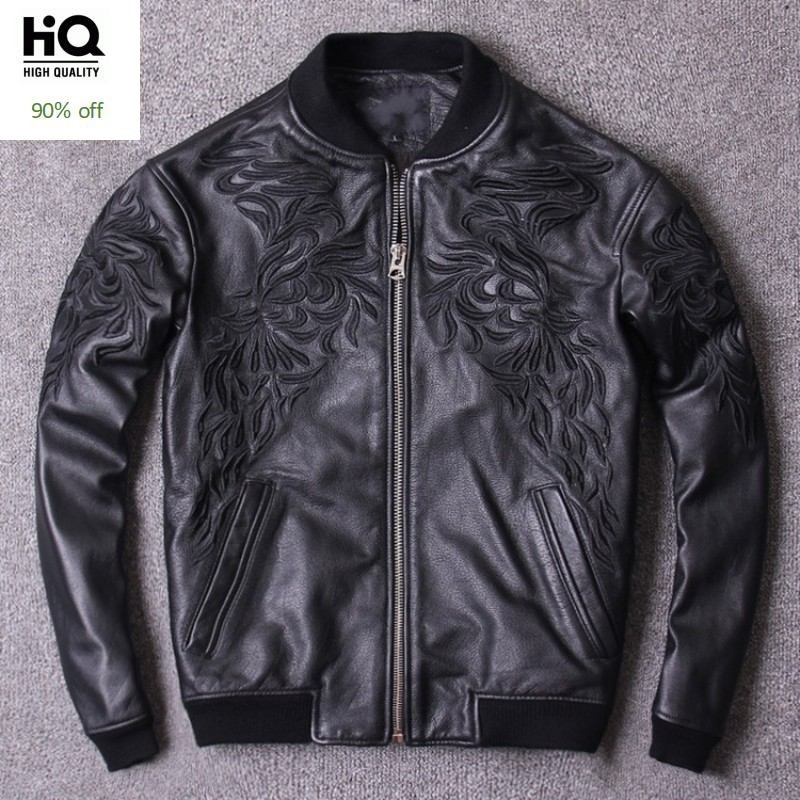 Spring New Motorcycle Chaqueta Cuero Hombre Embroidery Stand Collar Bomber Jacket Men Hip Hop Cowhide Genuine Leather Pilot Coat