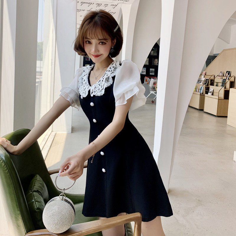 French Non-mainstream Dress Summer Wear 2019 New Style Peter Pan Collar Debutante Elegant Slim Fit Slimming Skirt