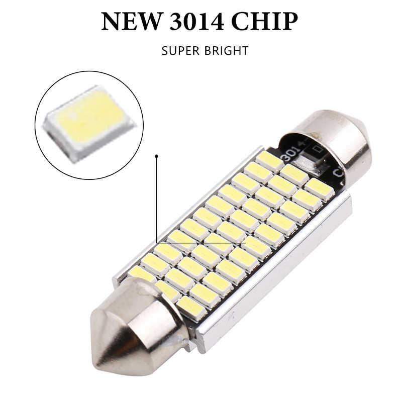 1 adet C5W Led C10W feston lamba İç işık 31mm 36mm 39mm 41mm araba LED 4014 SMD 24/30/36/39 led Doom lambası okuma ışığı 12V