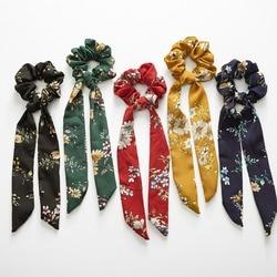 Boêmio grande flor scrunchies longo streamers arco lenço de cabelo feminino meninas doce corda de cabelo laços moda acessórios para cabelo headwear