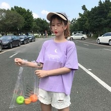 Harajuku Style Letter Print Women\s Purple Tees Fashion Cute Round Neck Short-sleeved Tops T-Shirts 02