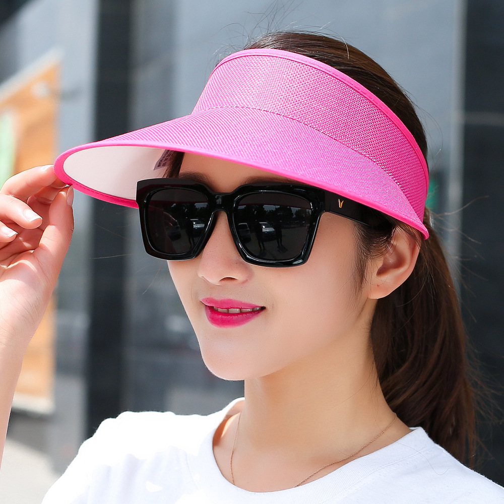 New Simple Summer Straw Sun Hat Women  Sun Visor Hat With Big Heads Wide Brim UV Protection Female Cap Wholesale