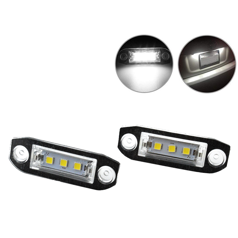 Pair LED 12V Car <font><b>Rear</b></font> Number License Plate <font><b>Light</b></font> White Lamp Error Free for <font><b>VOLVO</b></font> <font><b>S80</b></font> S60 C70 V70 XC90 XC60 image