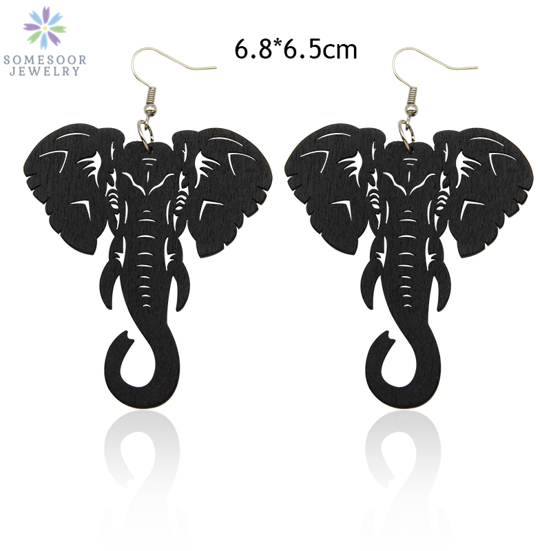 SOMESOOR 3 Colors Engraving Arican Elephant Wooden Drop Earrings Afrocentric Ethnic Tribal Eco Dangle Jewelry For Women Gifts