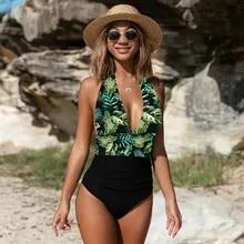 2020 Sexy di Un Pezzo Costumi Da Bagno di Spalla Femminile Floreale Delle Donne Costumi Da Bagno Push Up Costumi da bagno Body E Tutine Beach wear Ruffle Monokini