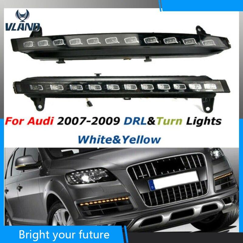 Автомобильный светодиодный дневной светильник s для Audi Q7 дневной ходовой светильник 2007 2009 желтый сигнал поворота Противотуманные фары