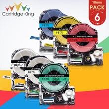 Label Ribbon-Tape King Jim Epson Print Teprapro Black SS18KW White 18mm for 6PK SC18RW