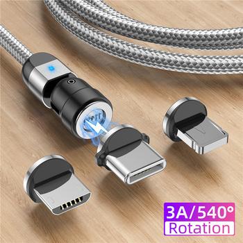 USLION 3A magnetyczny kabel Micro USB typu C akcesoria ładowanie dla iPhone 7 8 Plus 12 Pro Max Xiaomi nowa ładowarka 540 obrót tanie i dobre opinie TYPE-C LIGHTNING CN (pochodzenie) Magnetyczne Fast Charging with Data Transmission 0 5M 1M 2M For iphone 11 Pro Max X XS Max XR 8 7 6 6S Plus 5 5s se cable cord
