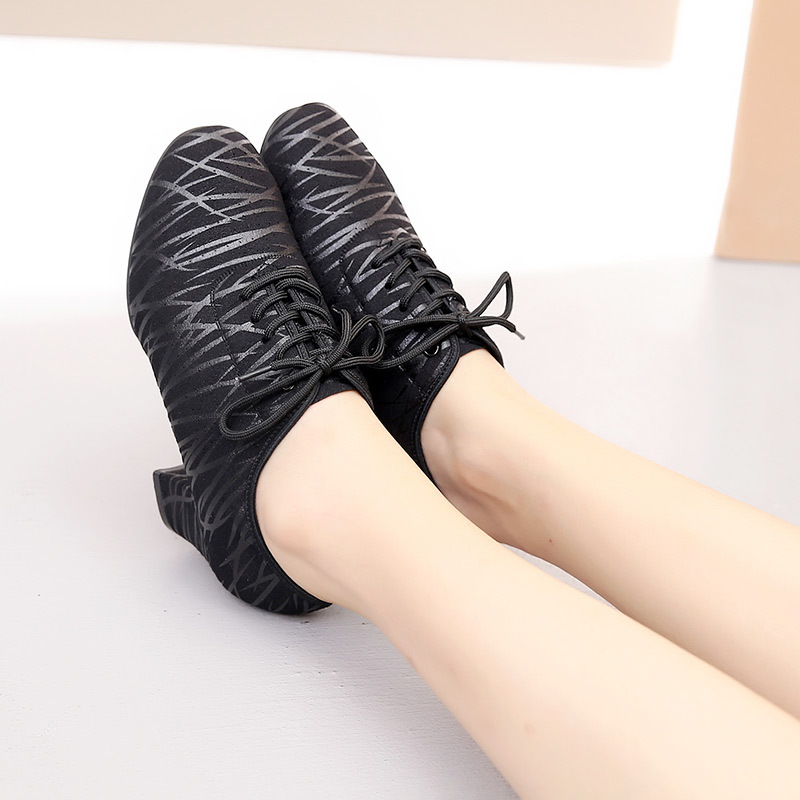 Sneakers Woman Female Teacher Two Points Square Latin Dance Shoes Sports Cowhide Dancing Shoes Ballroom Leather Women Shoes