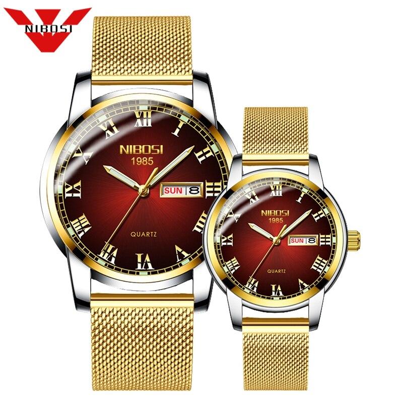 Couple Watch NIBOSI Men Watch Simple Luxury Quartz Wristwatch Womens Clock For Male Female Waterproof Lovers Thin Watch 2020