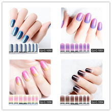 2020 Popular 14 Tips Color Gradient Nail Sticker Waterproof Durable Stickers Glitter Polish
