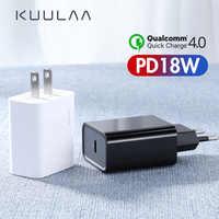 KUULAA USB C harger 18W PD 3.0 Charge rapide 4.0 Charge rapide prise de USB C chargeur de téléphone portable pour iPhone Samsung Xiaomi