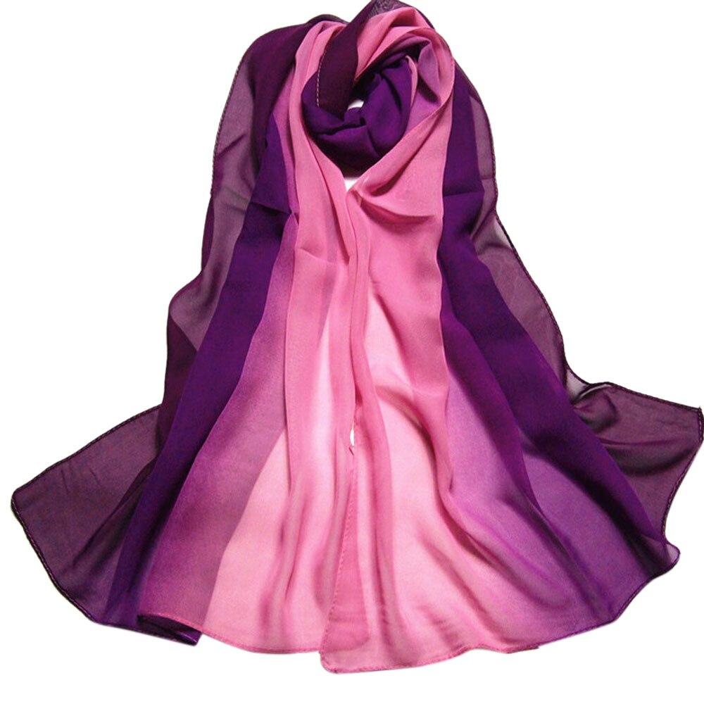 Women Gradient Color Long Wrap Chiffon Shawl Silk Scarves