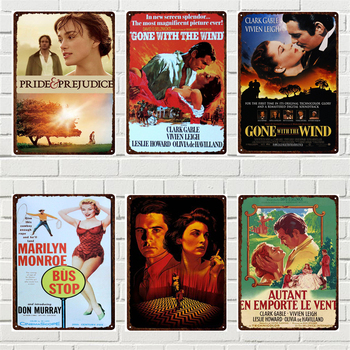 Classical Movie Tin Poster Plaque Pride and Prejudice Gone with The Wind Retro Vintage Metal Plate and Plaque for Home Cafe Deco