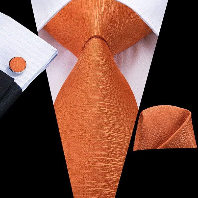 Hi-Tie Orange Men's Tie 8.5cm 100% Silk Ties For Men Hanky And Cufflinks Set Gold Luxury Flower Classic Party Wedding Necktie