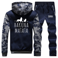 HAKUNA MATATA Winter Jacket+Pants 2 Piece Sets Letter Print Thick Fleece Sweatshirt Men's Cartoon Lion King Men Trousers Hoodies