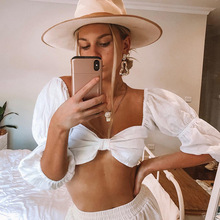Hot Selling Vintage White Red Satin Crop Top Women Summer Sexy Low Chest V Neck Lace Up Shirt Lady Casual Cropped 2019 New