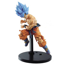 Original Banpresto Dragonball Super Heroes Son Goku Blue Figure Day Fighters PVC action figure model Figurals