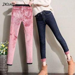 Alta qualidade calças de brim grossas moda feminina estiramento cintura alta lápis calças femininas 2020 casual plus size plus size veludo jeans das mulheres