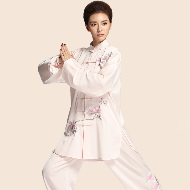 2019 Jiu Jitsu Wushu Kung Fu Uniform Tai Chi Suit Milk Silk Martial Arts Performance Suit Embroidery Women Chinese Style Suit