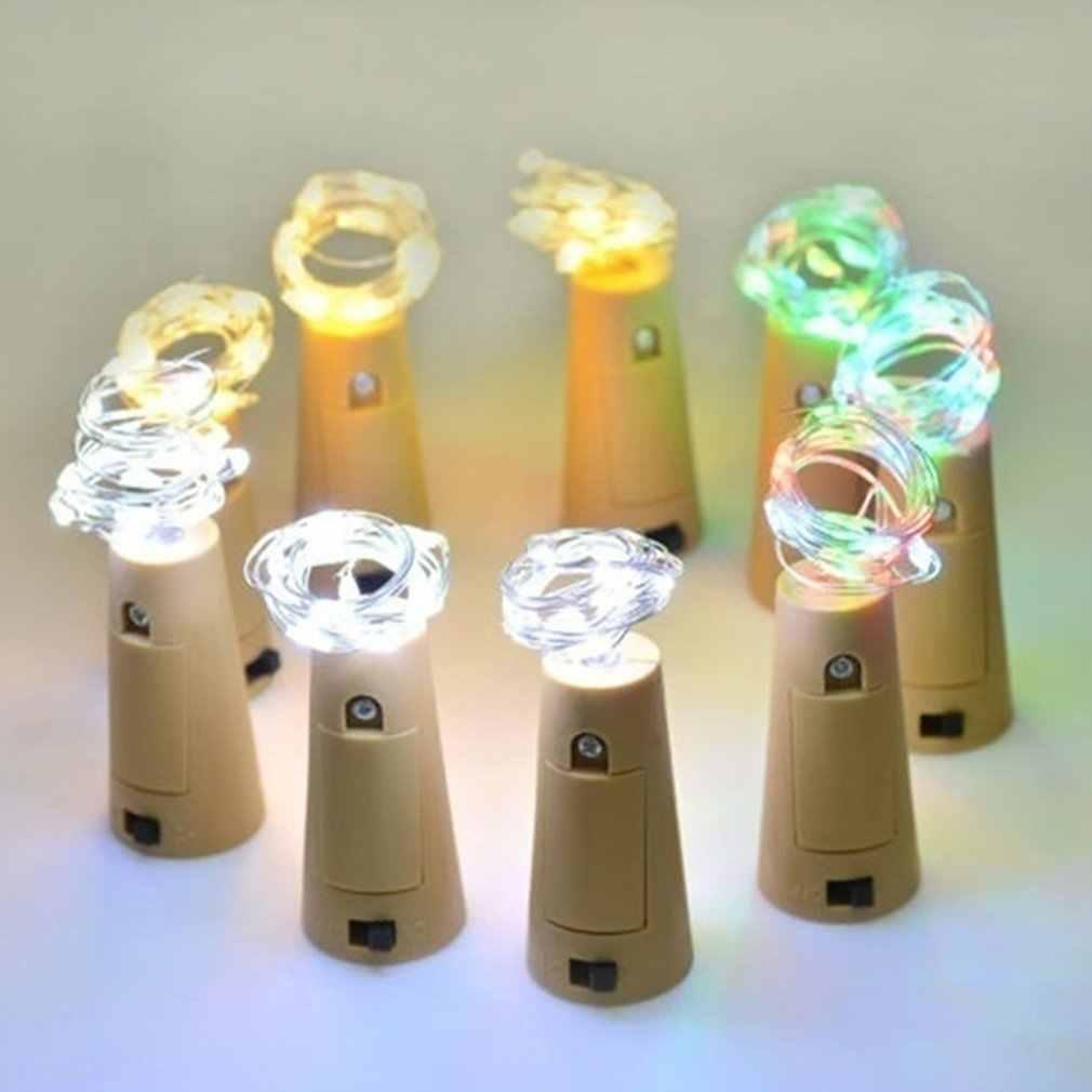 Lampu String CR2032 Tombol Tembaga Kawat Lampu Liburan Dekorasi Lentera LED Tembaga Remote Control Lampu