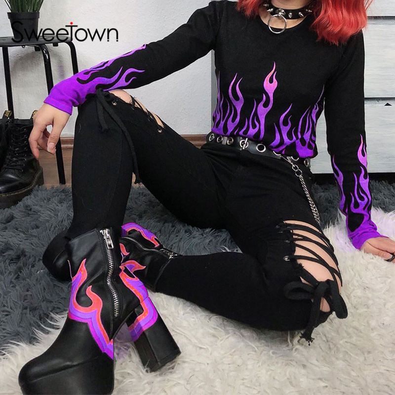 Sweetown Casual Printed Basic Tshirt Women Streetwear Flaming Fire Graphic T Shirts O Neck Long Sleeve Crop Top T-Shirt Autumn