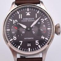 luxury Corgeut 42mm black dial Power Reserve Date Window Leather Automaitc Men Watchs. D5